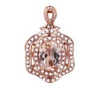 ingrosso oro morganite-Solido 14K oro rosa ciondolo in diamanti naturali partito 7x5mm Morganite ovale donne eleganti ciondolo donne alla moda gioielleria raffinata