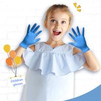 gants de mécanicien livraison gratuite achat en gros de-20pcs / Box Gants jetables pour enfants Gants Bleu Nitrile de protection pour les enfants XS / S Taille Gauche Droite Mains universelle