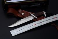 sabit bıçak bıçakları deri kılıf toptan satış-Klasik Küçük Rambo III Survival Düz Bıçak 440C Saten Bıçak Ahşap Saplı Deri Kılıf Ile Sabit Bıçak Bıçaklar İmza Edition