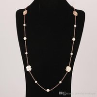 Wholesale gold shell pearl pendant for sale - Group buy Fashion Folli Follie brass material The ornament is a conch shell encrusted with four leaf flower rose gold long necklace in cm jewelr