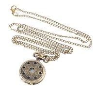 montres couleur cool achat en gros de-Montre de poche vintage couleur bronze montre à quartz chaîne cool montres Pentagramme creux TT @ 88