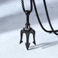 piratenanhänger edelstahl großhandel-Poseidon TRIDENT Anhänger Halskette für Männer Edelstahl Pirate Fantasy Es war einmal Filme Schmuck