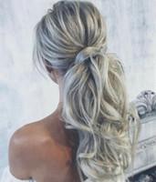 Fashion Silver Hair Pferdeschwanz Kordelzug In Haarteilen Welliges Brasilianisches Remy Haar 100g Pro Packung Echthaarverlängerungen Graue Frisur