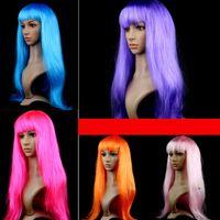 ingrosso lunga parrucca nera halloween-Parrucca cosplay capelli lunghi lisci Halloween Parrucca festaioli capelli neri sintetici in fibra sintetica nera