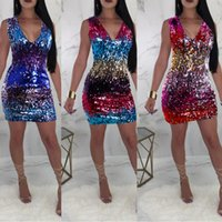 Wholesale dress repairs for sale - Group buy Season Sexy V Collar Sleeveless Repair The Body Package Buttock Gradual Change Color Collision Sequins Evening Dress