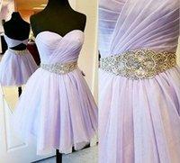 vestidos de dama de honor purpúreos claros cortos al por mayor-Short Mini Light Purple Gasa Pageant Vestidos de noche Moda nupcial vestido Ocasión especial Vestido de fiesta de dama de honor