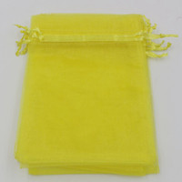 bolsas de regalo amarillas para boda al por mayor-Caliente ! Limón amarillo 7x9 cm 9X11 cm 13X18 cm Organza bolsa de regalo de la joyería bolsas para favores de la boda, perlas accesorios