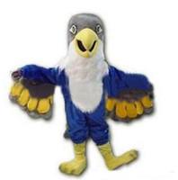 kartal maskot kostüm özel yapılmış toptan satış-2019 Yeni Custom made Mavi Falcon Maskot Kostüm Karikatür Karakter Kartal Kuş Mascotte Mascota Kıyafet Suit Fantezi Elbise Suit olome