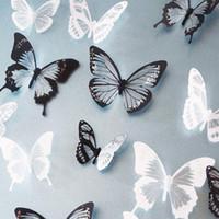 pegatinas de mariposa de cristal al por mayor-3d efecto cristal mariposas etiqueta de la pared hermosa mariposa para niños habitación tatuajes de pared decoración del hogar en