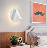 12v duvar anahtarı toptan satış-Yeni Varış LED Duvar Lambası Çift Anahtarı Ile Yatak Odası Için Dönebilen Okuma Işık Gece Lambası Duvar Aplik Spot
