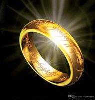 caché argent achat en gros de-Le seigneur des anneaux cachent des bijoux bague en argent plaqué or noir 18 carats de puissance hommes femmes bague