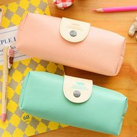 Wholesale pink leather pen resale online - Girls Cute Pink Blue PU Leather Pen Bag Student Simple Snap Pencil Case Bags Durable Large Capacity School Supplies Stationery