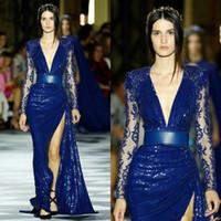 zuhair murad mavi kırmızı elbis toptan satış-Seksi Yarık Pırıltılı Pullarda Dantel Uzun Kollu Kırmızı Halı Akşam Wear törenlerinde ile Zuhair Murad 2020 Royal Blue Balo Yarışması Elbise