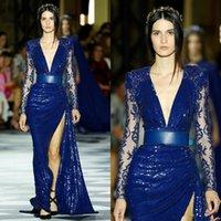 zuhair murad azul rojo vestido al por mayor-Zuhair Murad 2020 del azul real vestidos de baile del desfile con manga larga hendidura sexy brillante de las lentejuelas encaje alfombra roja vestidos de noche de desgaste