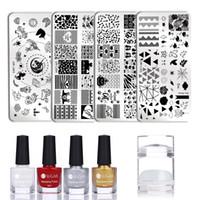 Wholesale nail art stamper set resale online - UR SUGAR Set ml Nail Stamping Polish Set Colorful Stamp Plate Printing Gel Polish Varnish With Stamper Nail Art Lacquer