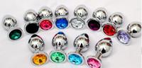 ingrosso spina per anale-Butt plug anale in acciaio inossidabile, giocattoli di sesso anale gioielli in cristallo, bottoni in metallo dildo plug stimolazione ano, massaggiatore prostatico 85 * 32mm multicolor