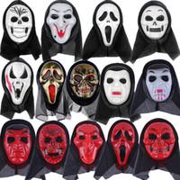 полная маскарад маски мужчин оптовых-Череп Хэллоуин маска часть маски Кричащий скелет гримаса реквизит Маскарадная маска анфас для мужчин и женщин страшно maskT2I5349