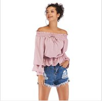 ca3f449cda7a0c Chiffon Polka Dot Womens Blouse Off Shoulder Lace Up Ruffles Hem Layered  Puff Sleeves Female Shirts 2019 Summer Retro Sweet Tops
