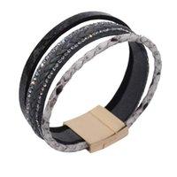 brasilianer armbänder großhandel-Diezi mode frauen böhmischen perlen brasilianische magnet armband handgemachte geflochtene lederarmbänder armreifen boho paar schmuck
