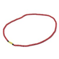красные кораллы бисер оптовых-Meticulous and slender Red with yellow and Black 6 MM Beads natural Red coral Necklace.The Christmas Eve Gift