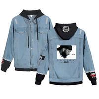 kpop jeans großhandel-Nipsey Hussle Denim-Jean-Stitching-Jacken-Mantel Harajuku Jeans Pullover tragen Kleidung Fans Frauen 2019 Kpop Hoodies Nipsey Hussle