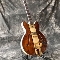 Wholesale guitars gold hardware online - Custom high quality hot sale double f hole hollow body jazz electric guitar guitar gold hardware accessories top quality