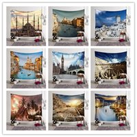 Wholesale architecture online - 1PCS Large Size Wall Hanging Tapestry Mural World Architecture Printed Beach Towel Shawl Yoga Mat Party Backdrop Wedding Decorations