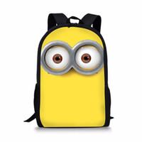 çanta köleleri toptan satış-Minions Baskı Çocuklar Okul Çantaları Erkek Kız Sırt Çantası Çocuklar için Sevimli Schoolbag Anaokulu Yürüyor Ortopedik Satchel # 89443
