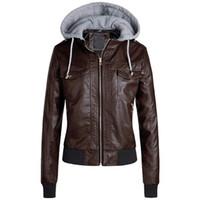 женские короткие кожаные зимние куртки оптовых-Женская тонкая кожаная куртка Съемные молнии шапки с капюшоном теплые полупальто и пиджаки женские пальто и куртки зима 2019 L23 #