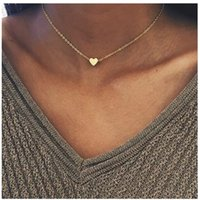 Wholesale small gold heart necklace resale online - 2019 New Gold Silver Plated Small Heart Necklaces Bijoux For Women Collars Fashion Jewelry Collarbone Pendant Necklace NA219
