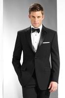 stilvolle schwarze jacken großhandel-New Stylish Design Bräutigam Smoking One Button Black Notch Revers Groomsmen Trauzeuge Anzug Mens Wedding Suits (Jacke + Pants + Tie) XF224