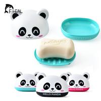 boîte à savon voyage achat en gros de-FHEAL plastique Soap Box Cartoon Accueil Savon Voyage vaisselle Organisateur enfants Salle de bain Porte avec couverture de cas