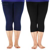 Wholesale fiber calf for sale - Group buy 3 Womens Length Leggings Bamboo Fiber Plus Size Stretchy Legging High Capri Leggings Pants Basic Leggings