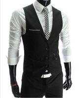 chaleco slim fit formal al por mayor-2019 recién llegado chalecos de vestir para hombres Slim Fit para hombre chaleco chaleco chaleco Gilet Homme informal sin mangas de negocios formal chaqueta