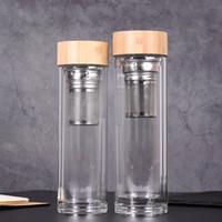 canasta de tazas al por mayor-Vasos de agua con tapa de bambú de 450 ml Vaso de té de vidrio de doble pared con colador e infusor Canasta Botellas de agua de vidrio GGA2633
