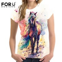 Wholesale painted horse art for sale - Group buy FORUDESIGNS Art Painting Horse Print Women T Shirt Fashion Summer D Printed T shirts Casual Female Tops Tee Shirt Short Tshirts T200516