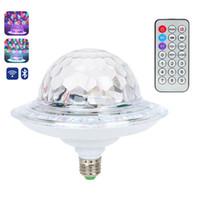 ingrosso palla rotante di cristallo-UFO Crystal Magic Rotating Ball E27 Bluetooth MP3 RGB Luce da discoteca 6 colori Telecomando Proiettore Party DJ Stage Lighting