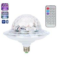disko ışıkları mp3 toptan satış-UFO Kristal Sihirli Dönen Top E27 Bluetooth MP3 RGB Disko Işık 6 renkler Uzaktan Kumanda Projektör Parti DJ Sahne Aydınlatma