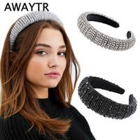 schwarze kleid rote haare zubehör groihandel-AWAYTR Silber Glitzy Luxus Voll Strass-Stirnband für Frauen füllten Haarreif Schwarz Sliver Weitkopfbedeckung Haarschmuck