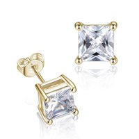 Wholesale small earrings designs for sale - Group buy Square CZ Zircon Stud Earrings For Women Men mm mm Zircon Small Silver Pink Color Zircon Earring Minimalist Design Party Jewelry Gifts
