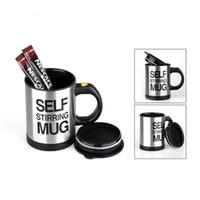 taza de café de agitación automática al por mayor-400 ml Tazas Automática Eléctrica Lazy Self Stirring Mug Taza Coffee Milk Mixing Mug Smart acero inoxidable Juice Mix Cup Drinkware