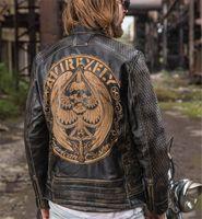 asas para trajes venda por atacado-American costumes vintage avirex preto voar homens motocicleta jaquetas de couro 100% genuíno couro crânio cabeça asas de águia