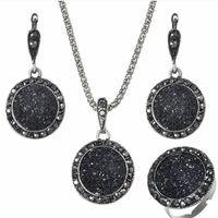 ensemble de bijoux en résine achat en gros de-bijoux de designer bijoux en résine définit cercle noir boucles d'oreilles rondes anneaux colliers classique pour les femmes chaudes fshion