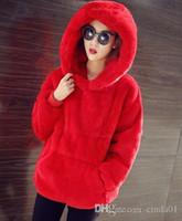 vêtements de velours coréen femmes achat en gros de-Nouveau 2017 Femmes Hoodies Sweat Marque Korean Warm Velvet À Capuche De Mode De Fourrure De Lapin Femmes Veste Dames Vêtements Outwear