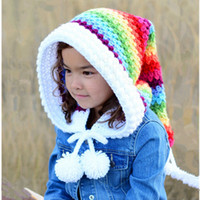 Wholesale crochet long tail hats resale online - Winter Thickened Warm Hats Children s Wool Crochet Hats Rainbow Long Tail Hat Girl Colorful Princess Caps RRA2138