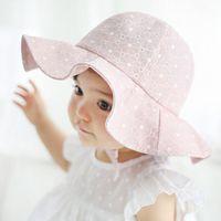 säuglingshut sonnenblende großhandel-Fashion Beach Bucket Babymütze Baby-Mädchen Visor Cotton Sun Cap Blumendruck Sommer-Prinzessin im Freien