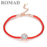 rote fadenkristalle großhandel-Romad österreichischen kristalle charme armbänder für frauen dünne rote faden schnur seil mode trendy armband armreifen schmuck großhandel