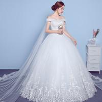 strapless tulle vestido de fiesta ruffled falda al por mayor-Las mujeres atractivas preciosas fuera del hombro de encaje hasta vestidos de novia vestidos de novia vestidos de bola