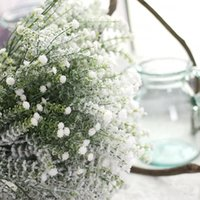 artificial snow plastic großhandel-Künstlicher Gypsophila-Baby-Atem-Schaum-Plastikblume Gypsophila mit Schnee-Weihnachtshauptlieferungs-Hochzeitsfest-Dekoration