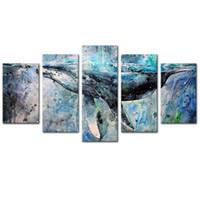 abstrakte wandpaneele großhandel-5 Panels Abstract Blue Whale Wand Bild Leinwand Wandkunst Moderne Kunst für Wohnkultur Ungerahmt